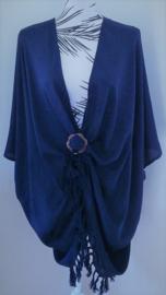 Sarong vest blauw. 100% rayon, met sarong knoop.