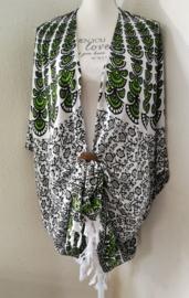 Sarong vest pauw, appelgroen/wit/zwart. Symbool van onsterflijkheid. 100% rayon, met sarong knoop.