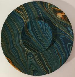 Balinese hapjes schaal, met zand beschilderd hout. Wondermooie tekening. Diameter van 27 cm.