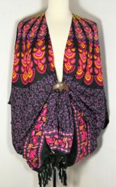 Sarong vest pauw zwart/multi. Symbool van onsterflijkheid. 100% rayon, met sarong knoop
