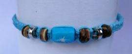 Macramé bracelet fluor blauw