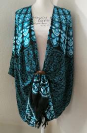 Sarong vest pauw, aqua/zwart/wit. Symbool van onsterfelijkheid. 100% rayon, met sarong knoop.