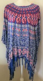 Sarongshirt  Pauw met wijde hals 100% rayon. One size.
