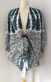 Sarong vest pauw, blauw./zwart/wit. Symbool van onsterflijkheid. 100% rayon, met sarong knoop.