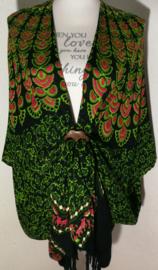 Sarong vest pauw,  Symbool van onsterflijkheid. 100% rayon, met sarong knoop.