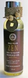Zen massageolie met lemongrass, coconut, olijf en soja olie. Voor een meditatieve diepe ontspanning van lichaam en geest. 100% zuivere ingredienten. 100 ml