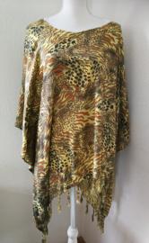 Sarongshirt  Tiger Art met wijde hals 100% rayon. One size.