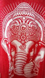 Lord Ganesha hemdje rood M. Lang model, met wijde armsgaten. Met gedrukte print.