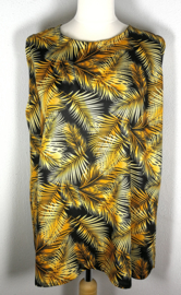 Mouwloze top Bali blad goud, met ronde zoom. Lengte 73 cm, bovenwijdte 118 cm, heup 130 cm, 100% rayon. Maat 46 t/m 50.