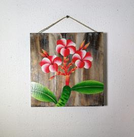 Houten wandpaneel  Frangipani wit/rood/roze. 30,5 x 30,5 x 4 cm. Handwerk uit Ubud, geschilderd op juthout.