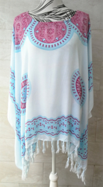 Sarongshirt Mandala met wijde hals 100% rayon. One size.