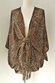 Sarong vest Balinese tiger Art bruin tinten. Symbool voor woeste oernatuur. 100% rayon, met sarong knoop.