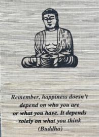 Spreukdoek Buddha  Op jute geverfd. Afmeting 36 x 98 cm.