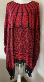 Sarongshirt  Pauw met wijde hals 100% rayon. One size. ( wijdte 1.90 lengte 83 cm.)