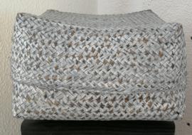 White wash antraciet kleurige offerdoos. Van zacht bamboe.  23x23x13 cm.