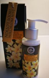 Exclusiviteit van Bali Alus. Frangipani bodylotion met Sun protection. Pompje van 100 ml. In geschenkdoosje. Iso gecertificeerd.