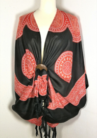 Sarong vest Mandala 'Circle of Life', zwart/rood. 100% rayon, met sarong knoop.
