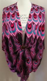 Sarong vest pauwenveren roze/zwart/multi. 100% rayon, met sarong knoop.