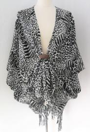 Sarong vest Balinese tiger Art zwart/wit. Symbool voor woeste oernatuur. 100% rayon, met sarong knoop.