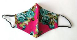 Batik mondkapje boeketje/roze.