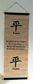 Spreukdoek Peace Op jute geverfd. Afmeting 36 x 98 cm.