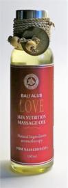 Love massage olie met lavendel, coconut, olijf en soja olie. 100% zuivere ingredienten. Bali Alus gecertificeerd. 100 ml . Voor een liefdevolle diepe ontspanning van lichaam en geest.