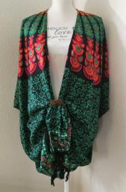 Sarong vest pauw, smaragd groen/multi. Symbool van onsterflijkheid. 100% rayon, met sarong knoop.