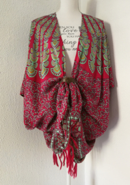 Sarong vest pauw, rood/mint/multi. Symbool van onsterflijkheid. 100% rayon, met sarong knoop.