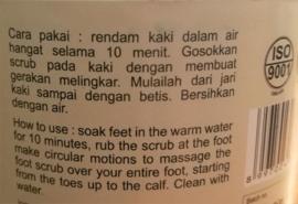 Foot Scrub, Bali Alus gecertificeerd. Detox massage behandeling voor de zeer droge voet. Grote pot van 250 gram.