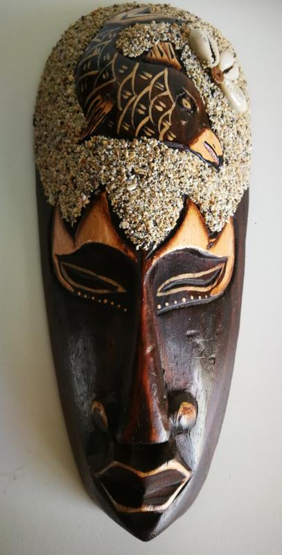 Krachtdier masker vis. 22x11 cm. Handgemaakt. Schenkt innerlijke rijkdom.