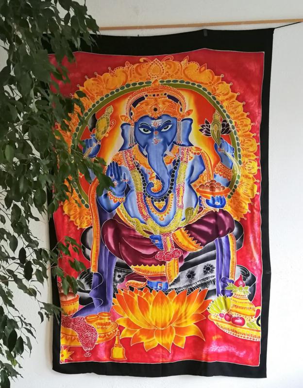 Wandkleed Ganesha. Batik uit Ubud, 1.75 bij 1.15m. Met ophangkoord.