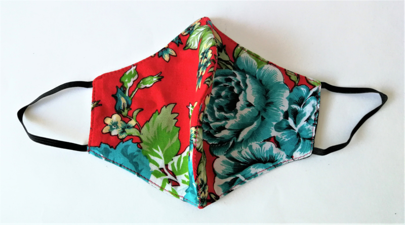 Batik mondkapje Bali flowers rood/multi.