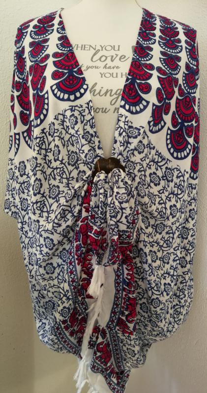 Sarong vest pauw, kobalt blauw/wit/roze-rood. Symbool van onsterflijkheid. 100% rayon, met sarong knoop.