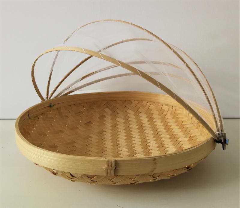 Ronde bamboe natural gaasmand. Met scharnierend net op kokosschroef. Diameter 35 cm.