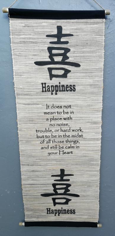 Spreukdoek Happiness. Op jute geverfd. Afmeting 36 x 98 cm.