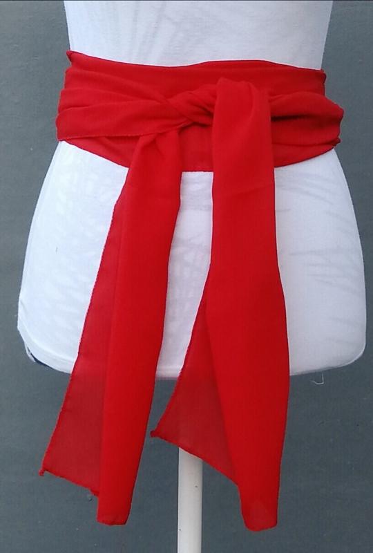 Kebaya sjerp (selendang) rood 2.40x28 cm.