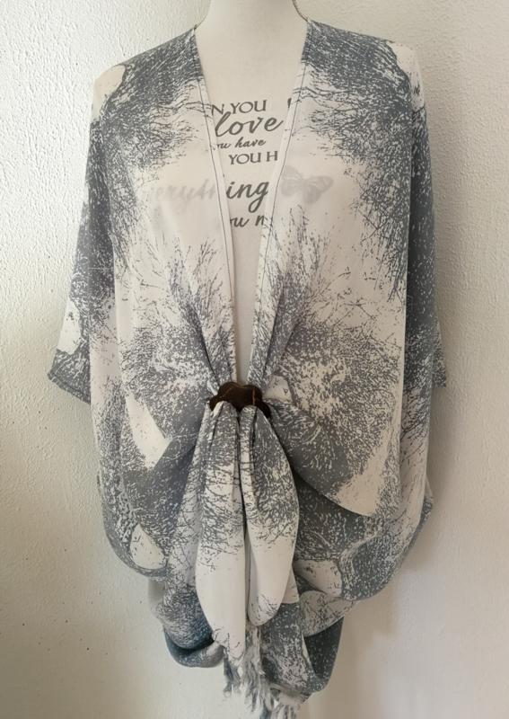 Sarong vest schimmenspel grijs/wit. 100% rayon, met sarong knoop.