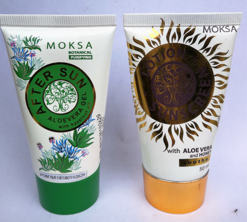 Voordelig gouden duo. Moksa Sunscreen lotion en Moksa After Sun. Tubes van 50 ml.