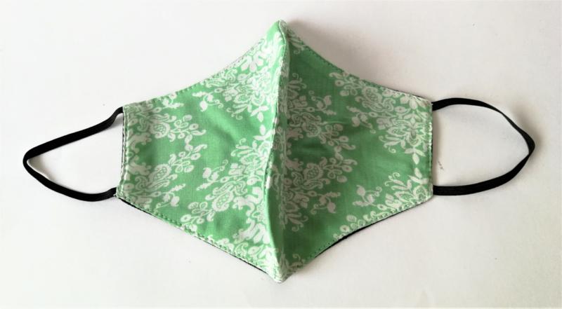 Batik mondkapje pastel groen.