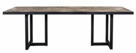 Luxe Eettafel hout visgraat / zwart metaal
