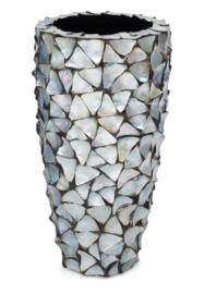 Schelpenpot hoog - zilvergrijs 80cm