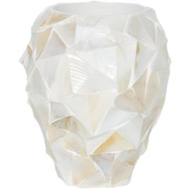 Schelpenpot klein - wit (24x17)