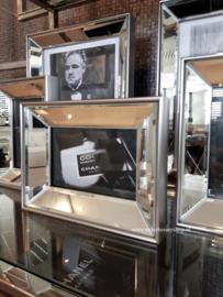 COMBI SET 5x spiegel fotolijstjes met standaard ZILVER