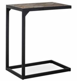 Bijzettafel Sidetable - hout / zwart metaal