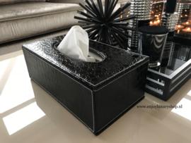 Luxe Tissue box - Tissue houder Croco zwart