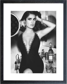 Fotolijst zwart wit foto Selma Hayek