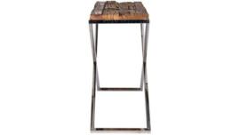 Luxe Wandtafel hout chroom (140x40)