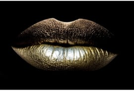 AluArt Kunstwerk - Close-up Golden lips 80x120