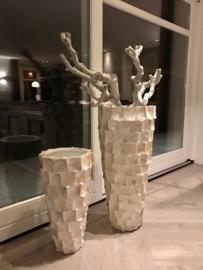 Hoge schelpenvaas wit 60cm (Bo)