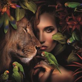 AluArt Kunstwerk - woman with lion and parrots